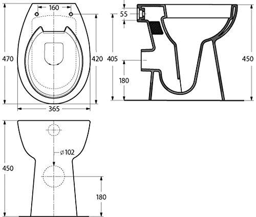 Stand-WC-Set +7 cm | Spülrandlos | Erhöhtes WC | Inklusive WC-Sitz | Für Senioren und große Menschen | Tiefspüler | Abgang waagerecht | Weiß | Spülrandlose Toilette | Spülrandloses WC | Stand-WC | Einfache Reinigung - 5