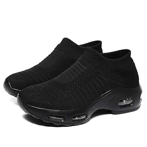 GDZZ Women Sneakers 2021 Spring Flat Shoes Slip on Sneakers for Women Black Breathable Mesh Sock Sneakers Shoes