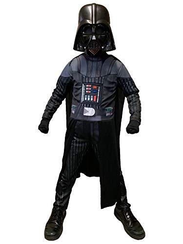 Disfraz infantil de Darth Vader de Star Wars, tamaño mediano 7-8 (con capa, máscara, guantes)