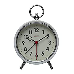 Cloudnola Station Metal Alarm Clock, White Rim and Black Numbers, LED Light up, 4.4 inch Diameter, Silent Non Ticking, Battery Operated Quartz Movement
