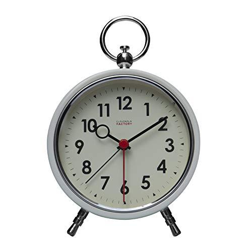 Cloudnola Factory Reloj Alarma – Despertador – Metal - Blanco - 11 cm – Silencioso – Movimiento de Quartz -Pilas – Luz LED para Ver en la Oscuridad