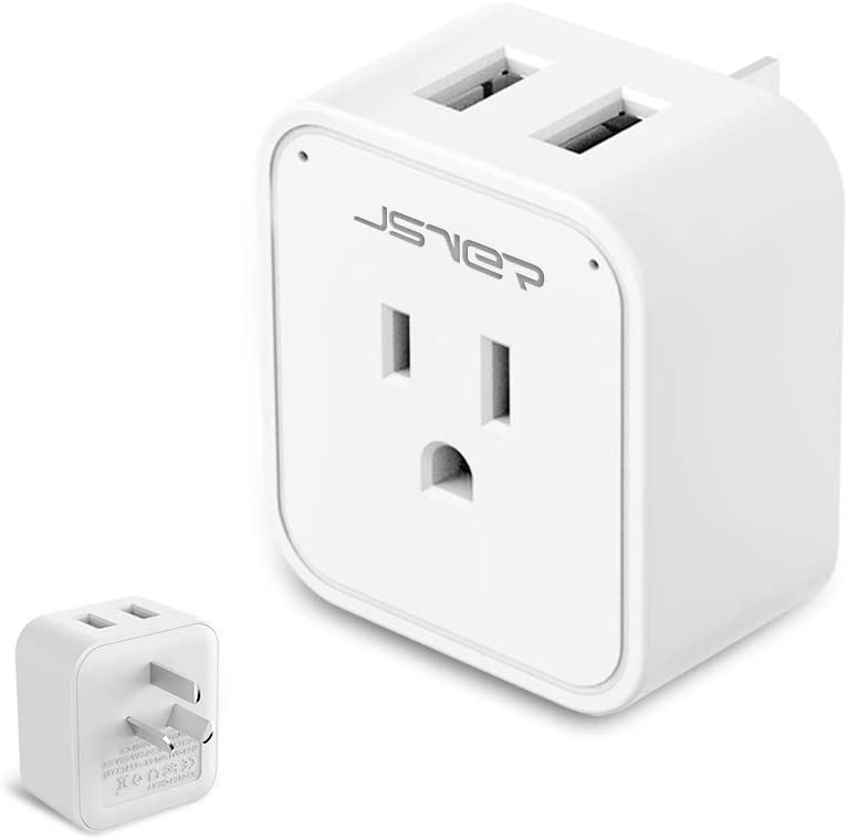 China Plug Adapter, JSVER Australia New Zealand Travel Power Plug Adapter with 2 USB Ports, US to Peru, Fiji, Argentina, Australia Power Adapter for Cell Phone, Laptop, Cameras, Tablets(White)
