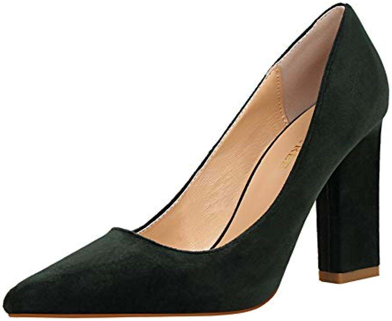 FLYRCX Einfacher und Stilvoller Spitzer Wildlederflacher Mundhoher Absatz Frühling und Elegante Temperamentarbeit des Herbstes beschuht Einzelne Schuhe der Damen