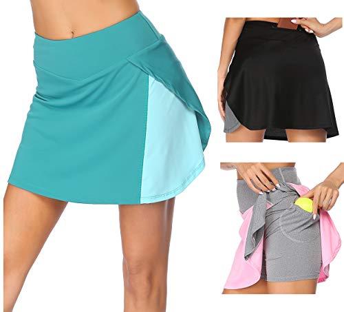 Damen Rock Kurz Tennisrock Minirock Yoga Skort mit Innenhose Taschen für Frauen Mädchen Golf Fitness Tennis Grün M