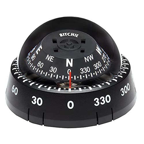 Kayaker by Ritchie Navigation XP-99 - Black Housing with Black 2.75-inch Direct Reading Dial Surface Mount Compaas