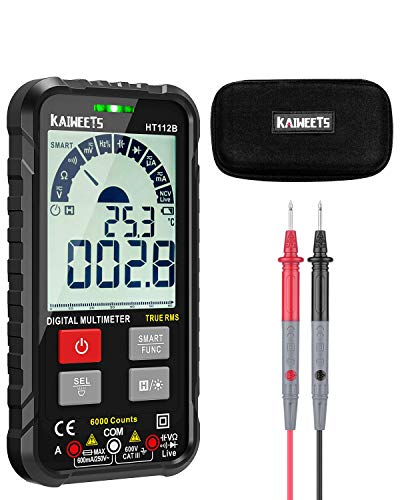 KAIWEETS HT112B Digital Multímetro Portatil, Polimetro Profesional con T-RMS/Autorango/6000 Cuentas para Medir CA/CC Corriente, Voltaje, Resistencia, Frecuencia, Capacidad, NCV, Diodes