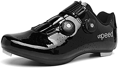 DGSD Men Road Bike Cycling Shoes, Premium Shoes with Cleat Men SPD Shoes Black Yellow Men Cycling Spinning Shoes,Black,43