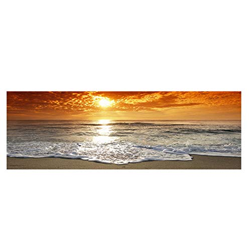 kaxiou canvas afdrukken zonsondergangen Natural Sea Beach landschap poster en afdrukken canvas schilderij panorama Scandinavische muurkunst afbeelding voor de woonkamer 30 x 100 cm geen lijst