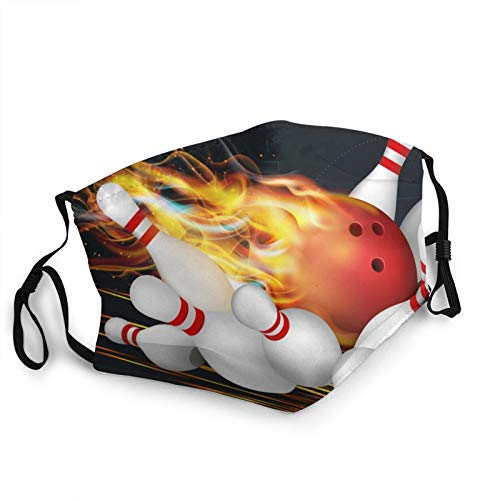 Zhung Ree Red Bowling Ball Flames Face Masks Unisex Mouth Mask Antidust Mask