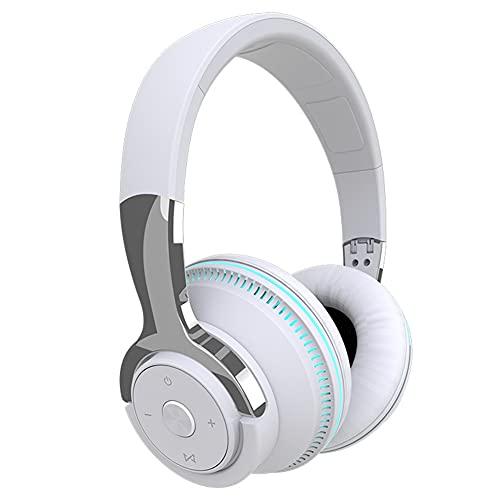 XJPB Auriculares inalámbricos con micrófono sobre el oído Auriculares Ejercicio Estéreo Bajo Profundo 24 Horas Escuchar Soft Earmuffs Bluetooth PC TV Auriculares para Oficina/Gimnasio,Blanco