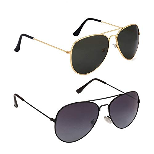 Dervin UV Protection Aviator Unisex Sunglasses – Combo of 2 (Black)