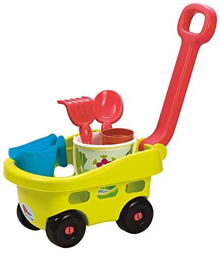 Ecoiffier 4344 – Wagen mit 5 Zubehörteilen – Gartenwerkzeuge – ab 18 Monaten