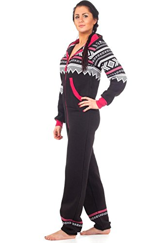 Loomiloo® Jumpsuit Freizeitanzug Overall Hausanzug Einteiler Strampler Body Anzug Jumpsuits Overalls Pyjama Norweger Muster (Schwarz) - 6