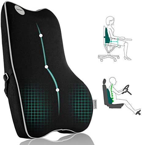 Lumbar Support Pillow Pure Memory Foam Back Cushion Orthopedic Backrest with Breathable 3D Mesh product image