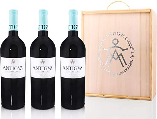 ANTIGVA Reserva 2015 - Vino Tinto Tempranillo Premium - Añada Excelente D.O. Ribera del Duero - Estuche de madera para regalar 3 Botellas x 750 ml