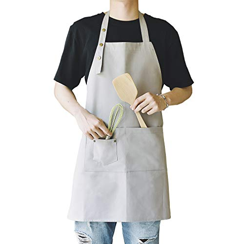 MORNITE Apron for Men Women Kitchen Cooking Adjustable Bib Art Chef Works Baking Cafe Apron with Pocket Grey