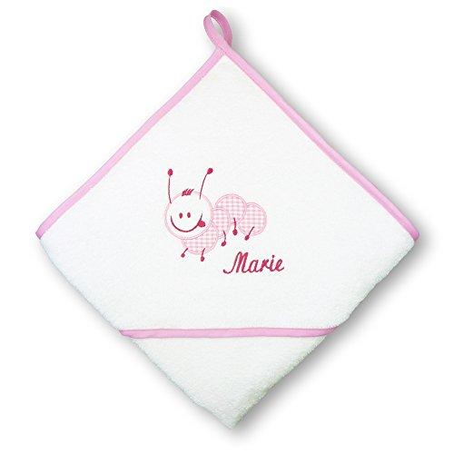 *Badekapuzentuch Raupe (Rosa) individuell bestickt mit Name, Baby Badehandtuch mit Kapuze personalisiert, 100% Baumwoll-Frottier, Kinder Kapuzenhandtuch mit Text, Warm und kuschelig und einzigartig!*