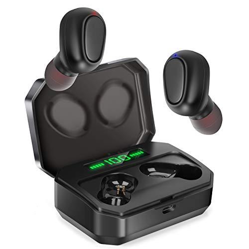 XLTOK Kabellose Bluetooth Kopfhörer, Bluetooth 5.0, TWS Stereo, In-Ear-Kopfhörer, Sport-Kopfhörer, Mikrofon, Freisprecheinrichtung, mit IPX7, wasserdicht, Digitalanzeige für iOS & Android