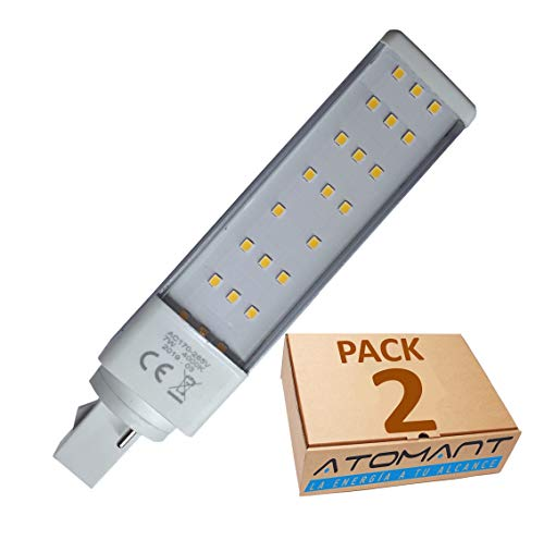 Pack 2x PL LED G23 G24 7w, 2 pin. Color Blanco Frío (6500K). 700 lumenes reales. Sustitucion plc 26w de gas. A++
