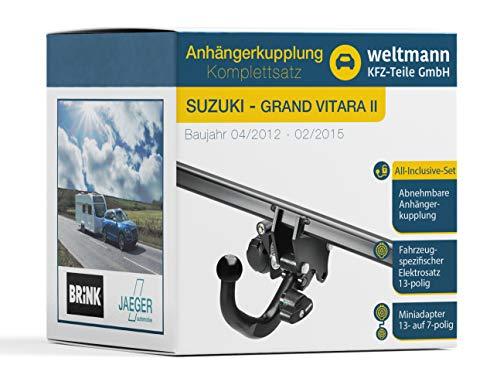 Weltmann AHK Komplettset geeignet für Grand Vitara II Brink Abnehmbare Anhängerkupplung + fahrzeugspezifischer Jaeger Automotive Elektrosatz 13-polig
