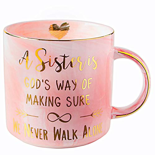 Vilight Sister Mug Gifts from Sister and Friend - A Sister is God's Way of Making Sure We Never Walk Alone - Pink Marble Ceramic Coffee Cup 11 Oz