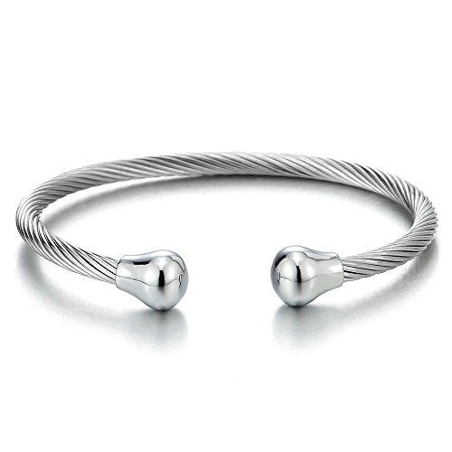 COOLSTEELANDBEYOND Verstellbare Edelstahl Verdrehten Kabel Manschettenarmband Armband Armreif für Herren Damen mit Magnetisch Wulst Charme