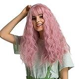 Rosa 20'' Lange gewellte Perücken, GLAMADOR Synthetische Perücke Damen mit Ponys, Lange Lockig Haare Perücke, Karneval Cosplay Perücke für Frauen, Synthetische rosa Perücke mit einem Haarnetz