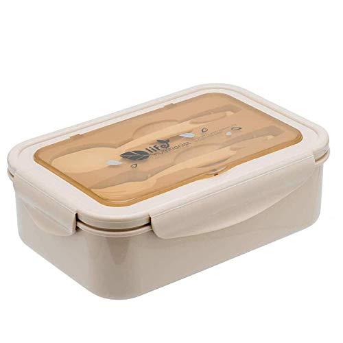 Bento Box,Lunchbox Kinder, Brotdose Kinder, Lebensmittelbehälter BPA-frei,Lunchbox mit 3 Fächern und Besteck, Auslaufsichere Brotzeitbox,Vesperdose Mikrowelle Heizung(beige)