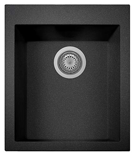 """ZUHNE Black Small Kitchen Prep Bar RV Utility Sink Drop-In or Undermount (22"""" by 20"""" Single Bowl..."""