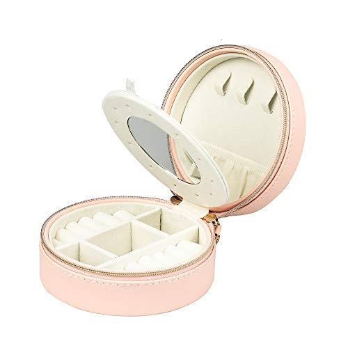 Portagioie per anelli, orecchini, collane, bracciali, in pelle, con specchio, per ragazze e donne (rosa)