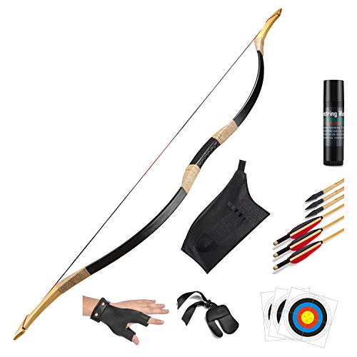 KAINOKAI Traditional Handmade Longbow Horsebow Hunting Recurve Archery Bow Recurve Bow Set (Black...