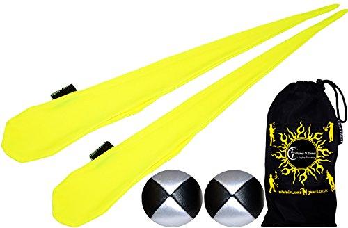 Lycra Extensible Paire de Chaussettes de Bolas AKA Sock Poi Flames N Games avec 2X Balles (Jaune) + Sac de Voyage!