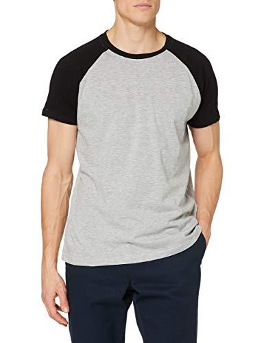 Urban Classics Herren Raglan Contrast Tee T-Shirt, gry/blk, L