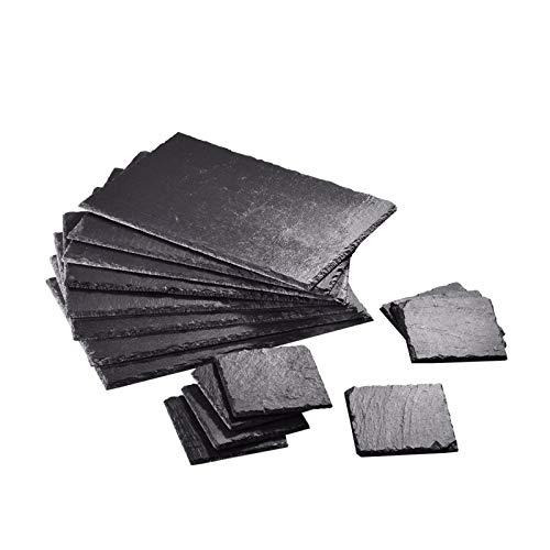 Podkładki - 8 zestawów naturalnych łupkowych zastawy stołowej kwadratowe i prostokątne zestawy podkładek, trwałe, antypoślizgowe i odporne na ciepło