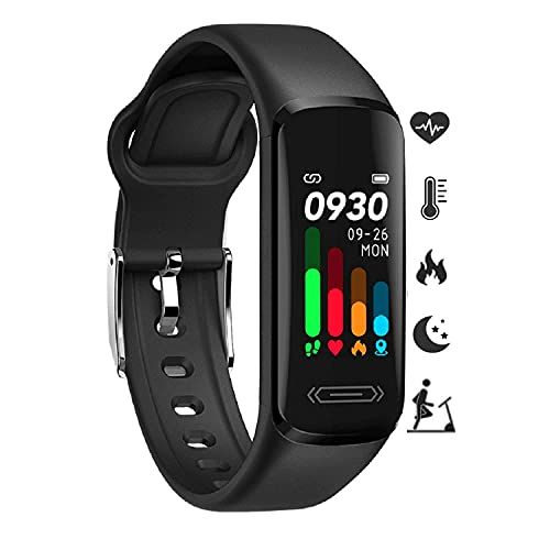 Fitness Tracker HR, Activity Tracker with Body Temperature Heart Rate Sleep Health Monitor, IP68 Waterproof Activity Tracker, Step Tracker Calorie Counter Pedometer Watch for Men Women Teens