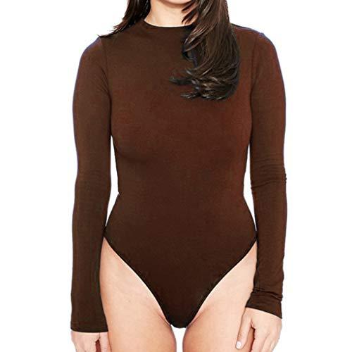 BDWY Lässige Bodycon Bodysuits Dünne Solid Color Langarm Frauen Jumpsuits nighclub dünne Strampler Körper Femme Manche Longue,H,M