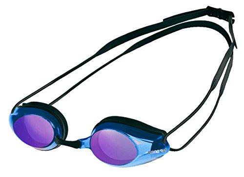 arena Unisex Training Wettkampf Profi Schwimmbrille Tracks (Verspiegelt, UV-Schutz, Anti-Fog Beschichtung), Black-Blue Multi-Black (74), One Size
