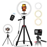 "10.2' Ring Light with 50"" Tripod Stand and Phone Holder, Jecoo Selfie Ring Light for Photography/Makeup/Vlogging/Live Streaming, Compatible with Phones and Camera"