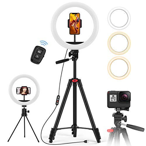 "10.2"" Selfie Ring w/ 2 Tripods, phone holder and Bluetooth Remote $19.99"