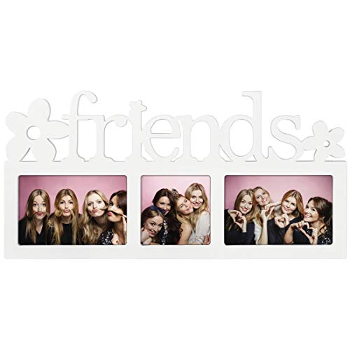 """Hama Collage Bilderrahmen für Fotocollagen """"Montreal - Friends"""" (Fotorahmen mit Friends-Schriftzug und Blumen, für 3 Fotos, Kunststoff-Rahmen, Echtglas) Fotogalerie weiß"""