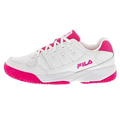 FILA Women's Double Bounce Pickleball Shoe (White/Pink Glo/White, 8.5)