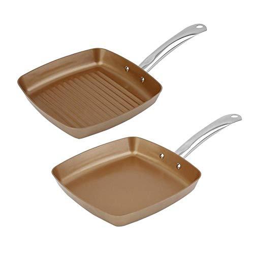 EDCV Non-stick vierkante grillpan Multifunctionele pannenset Keuken Kookgereedschap 2st Koperen coating Bodem Koekenpannen