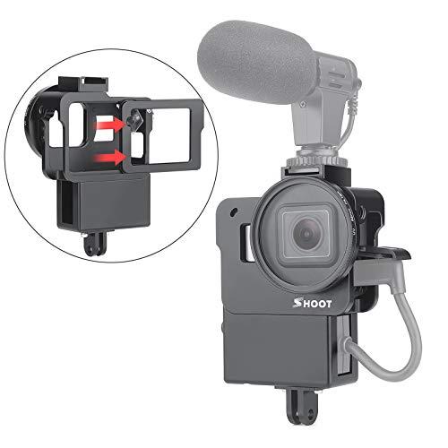 SHOOT Schutzgehäuse Fall Aluminiumlegierung Vlogging Film Rahmenrahmen Halterung mit Mikrofon Kalter Schuhadapter für GoPro Hero 7/6/5 Action Kamera Zubehör