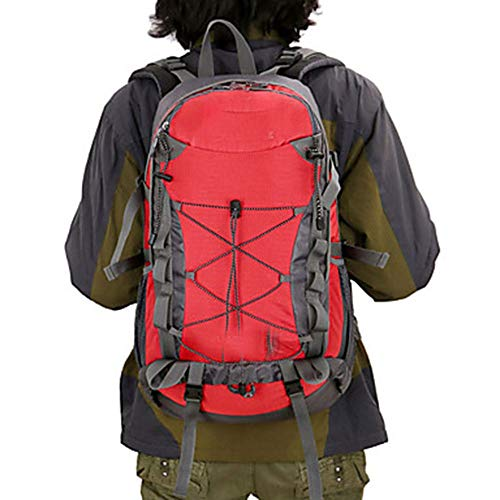 KK Timo Hiking Backpack 40 L - Waterproof Breathable Wearable Outdoor Camping/Hiking Traveling Nylon Orange Red Yellow (Color : Red)