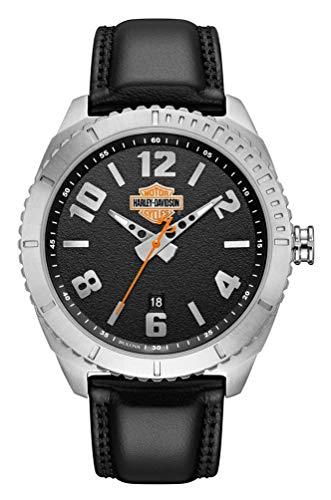 Harley-Davidson B&S 76B181 Reloj de hombre de cuero granulado y acero inoxidable