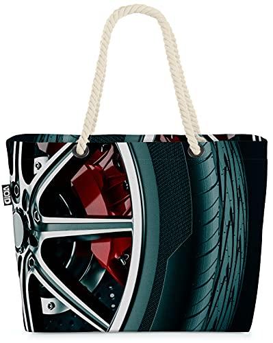 VOID Reifen Auto Felgen Strandtasche Shopper 58x38x16cm 23L XXL Einkaufstasche Tasche Reisetasche Beach Bag