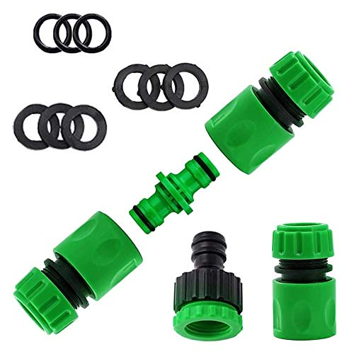 """Plastic Garden Hose Tap Connector Kit Hose Connector Fitting Set for Join Garden Hose Pipe Tube Including Double Male Connector,Hose Tap Connector Size 2-in-1, Hose 1/2""""End Quick Connect (5 Packs)"""
