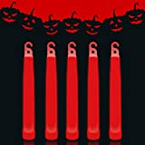 Lumistick 6 Inch Premium Glow Sticks | 15mm Thick Flat Bottom Illuminating Glowing Sticks | Waterproof & Non-Toxic Light Up Neon Sticks with Hook for Camping & Hiking (25 Glow Sticks, Red)