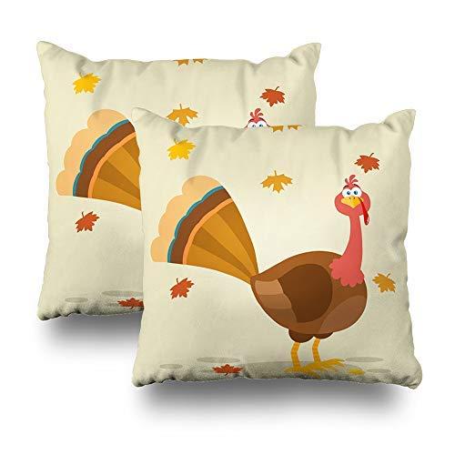 GFGKKGJFD Juego de 2 fundas de cojín para sofá y adolescentes, diseño de pájaro de pavo de Acción de Gracias con diseño de dibujos animados y pájaros de otoño de 18 x 18