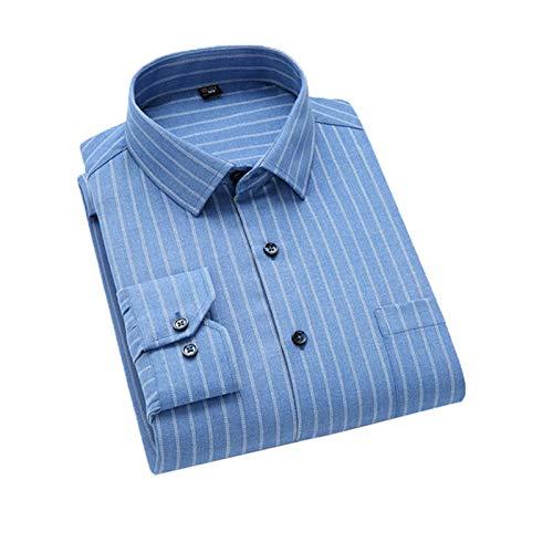 Chyoieya Camisa a rayas cepilladas a cuadros para hombre con un solo parche de bolsillo de ajuste estándar y grueso informal